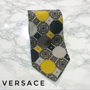 Versace V2 Colorblock Geometric Print Silk Tie